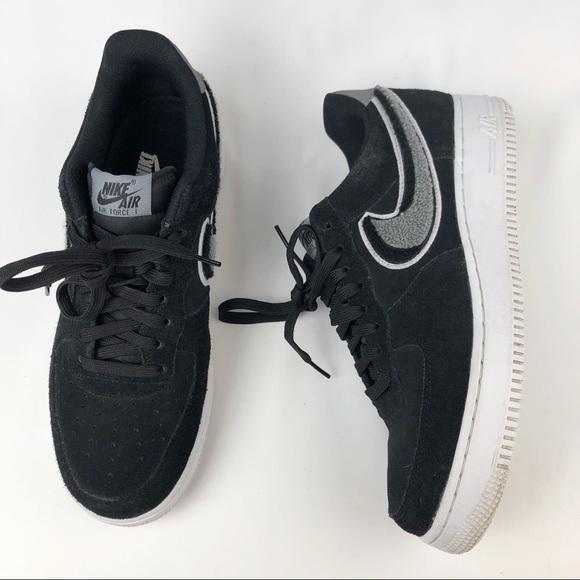 Nike Air Force 1 Black Gray Chenille Swoosh Men9.5